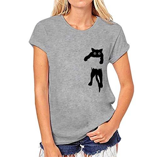 YCQUE Frauen Sommer Mädchen Oansatz Süße Katze Print Slim fit T-Shirt Retro Lose Kurzarm Bluse Lässig Einfache Pullover Tops