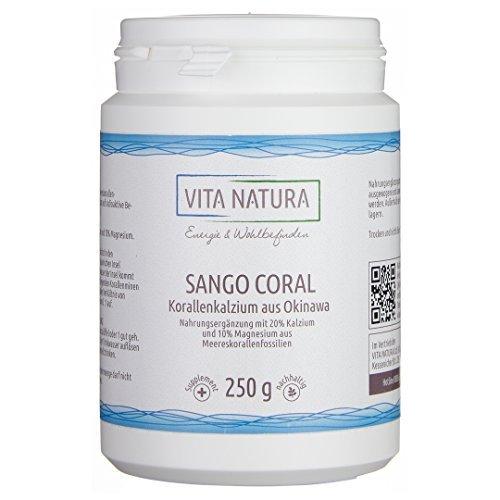 Vita Natura Sango Coral Korallenkalzium Pulver 250g | 100% Rein | Hoher Kalziumgehalt (Vita Pulver)