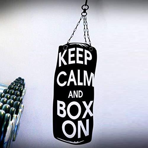 jiushizq Boxeo Mantenga la Calma y la Caja en el Papel de Vinilo removible Pegatinas de Pared para el Deporte Fitness Gym calcomanías Moda Cartel Cotizaciones Blanco 42X140cm