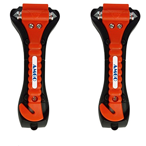 Notfallhammer, [ 2-Stück ] AMGO Auto Hammer Sicherheitshammer mit Gurtschneider fürs Auto Kfz Sicherheit