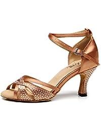 WYMNAME Mujeres Zapatos De Baile Latino,Fondo Blando Anti-Que Patina Sandalia Zapatos De Baile De Salón