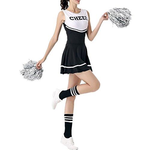 Imagen de fadirew–disfraz de animadora outfit disfraz de college sports alta escuela chica musical uniforme halloween disfraz  6colores, mujer, negro, medium alternativa