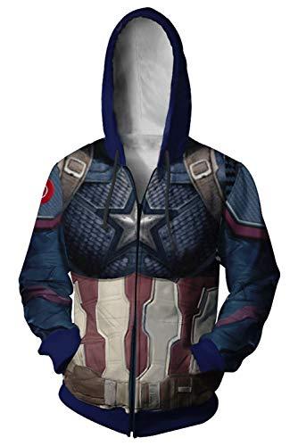 Herren Damen Kapuzenjacke Pullover mit Kapuze Sweatjacke Hoodie Avengers: Endgame Quantum Warfare Quantenkrieg Uniform Captain America Fish Scales