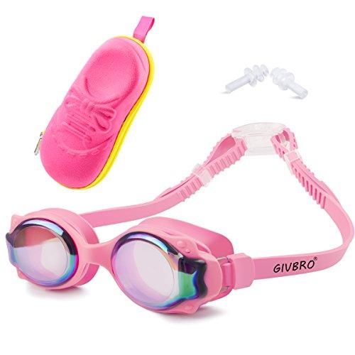 GIVBRO Schwimmbrille Kinder Anti-Beschlag 100% UV-Schutz wasserdicht Unisex Kinderschwimmbrillen Rutschfest lecksicher Taucherbrille + 1 × Box + 2× Ohrstöpsel für Kinder und Jugendliche geeignet