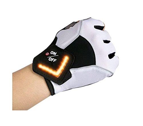 ZYW [Sport Handschuhe Motorrad Handschuhe LED-Richtungsanzeige Handschuhe Fahrradhandschuhe mit Adjustable Klettverschluss Mountainbike, Rennrad, White