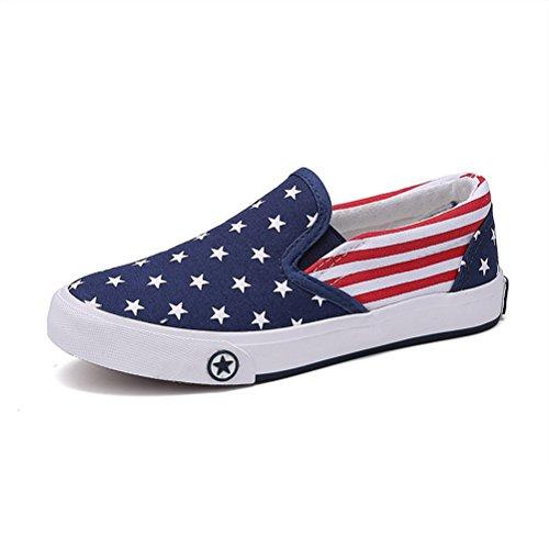 Kinder Frühling Unisex Sterne Pattern Canvas Slip on Einfache Lässige Flachschuhe Flach Sneakers Blau