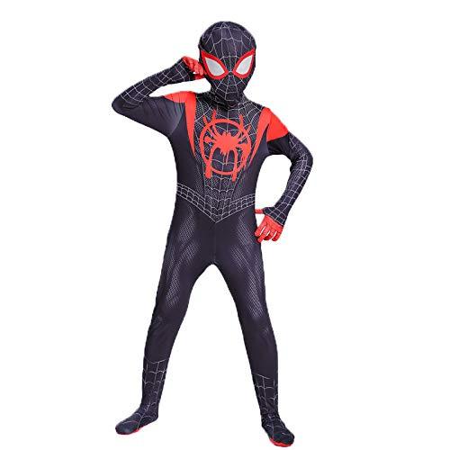 HUIHONG Spiderman Anime Kostüm Little Black Spider Kostüm Miles Parallel Universe Spider-Man Strumpfhose Weihnachten Halloween Fancy Iron Spider-Man - Black Iron Spiderman Kostüm