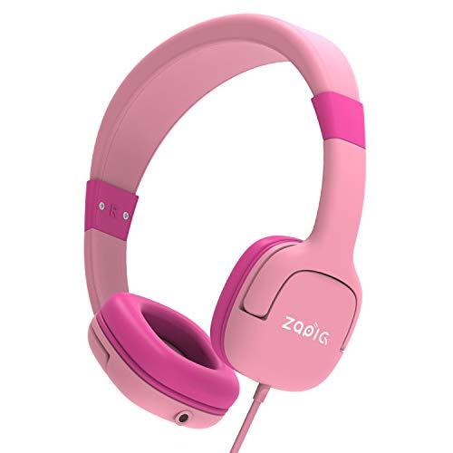 ZAPIG kopfhörer für Kinder mit 85dB Lautstärkebegrenzung Gehörschutz & Musik-Sharing-Funktion, Faltbare Kinderkopfhörer - Pink