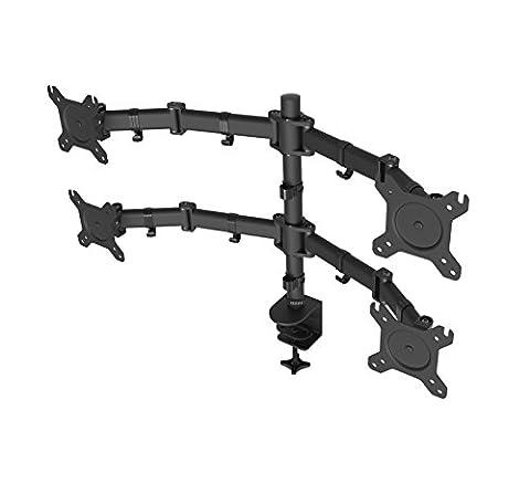 Duronic Steel DM254 Quad / Four LCD LED Desk 4 Mount Monitor Stand Arm Bracket + 10 Year Warranty - (Adjustable Monitor Arm: Tilt ±90/35°|Swivel 180°|Rotate 360°)