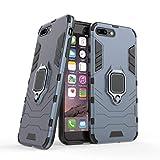 Compatibile con iPhone 7 Plus / 8 Plus Cover, Custodia Armor Anello Cavalletto (Funziona con Il Supporto Magnetico per Auto) Case Paraurti per Apple iPhone 7 Plus, iPhone 8 Plus (Blu Navy)
