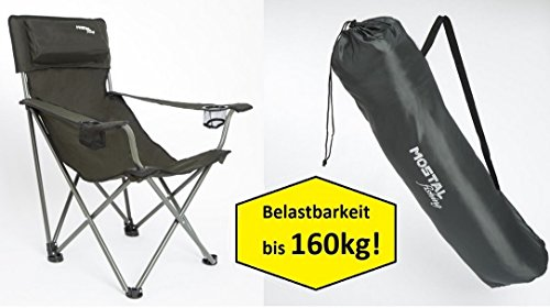 Mostal Faltstuhl Klappstuhl Anglerstuhl Angelstuhl mit Getränkehalter Armlehnen 160Kg