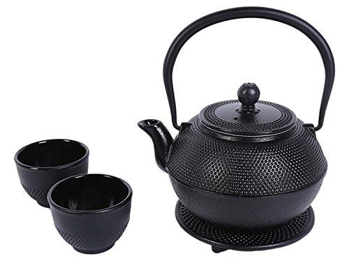 Gusseisen Teeservice im Japanischen Stil von Juvale-Teekanne mit Sieb aus Rostfreiem Edelstahl, Untersetzer und 2 Becher - Wärmespeichernd - Für Tee-Geniesser, als Geschenk - Schwarz,1200ml