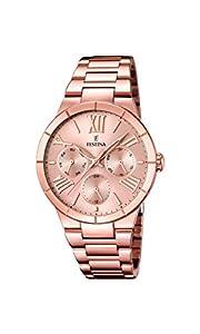 FESTINA F16718/2 - Reloj de cuarzo para mujer, con correa de acero inoxidable chapado, color oro rosa de FESTINA