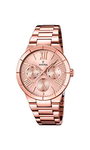 Festina Women's Quartz Watch with Rose Gold Dial Analogue Display and Rose Gold Stainless Steel Plated Bracelet F16718/2