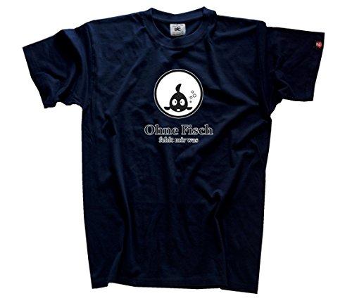 Shirtzshop Uomo senza Pesce fehlt maglietta blu navy