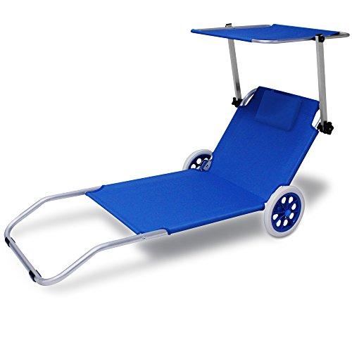Deuba Alu Sonnenliege Kreta mit Dach klappbar 2 Räder Strandliege Gartenliege Strandrolli Liege Farbauswahl blau