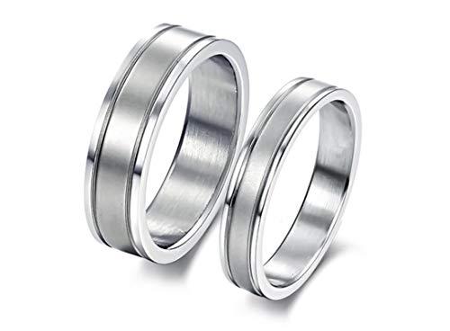 Blisfille Verlobungsring Nickelfrei Herren Verlobungsring Edelstahl Ringe Für Paar Hoch Poliert Rund Breite 8 & 6mm Trauring Silber Herren Damen Damen Gr.60 (19.1) & Herren Gr.49 (15.6)