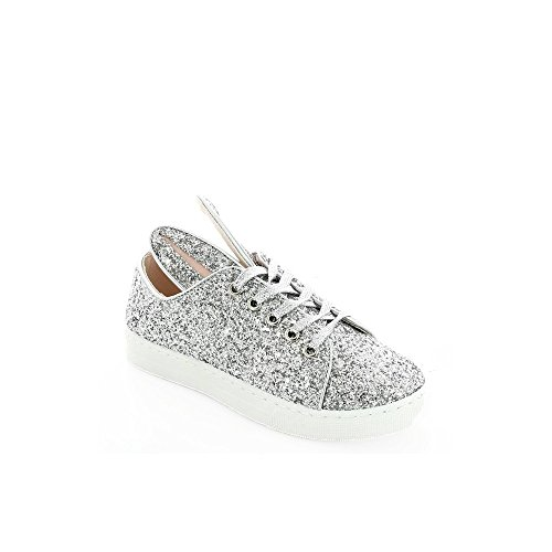 Ideal Shoes - Baskets lapin effet pailleté Paula Argent