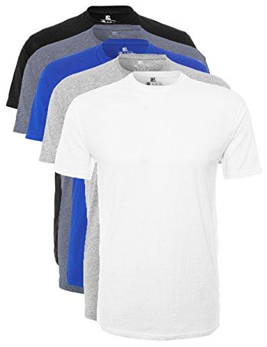 Lower East Herren T-Shirt mit Rundhalsausschnitt, 5er Pack, Mehrfarbig (Weiß/Schwarz/Blau/Grau/Rauchblau), Large