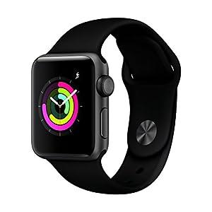 Apple Watch Series 3 GPS, Aluminium Space Grey Case / grauem Gehäuse, Sport Band Black / Sportarmband schwarz, 38mm, MQKV2ZD/A