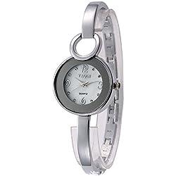 Kreativ Mode Edelstahl Armband Uhr Damen Armbanduhr, Weiß