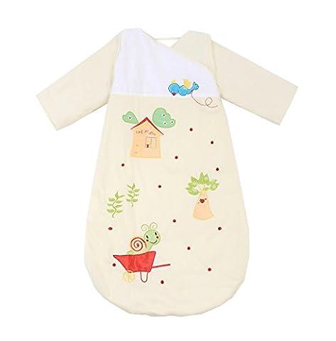 Missfly Unisex Baby Schlafsack Kinderschlafsack mit abnehmbaren Ärmeln Winter Cartoo Tier Design, Gelb, M(Länge:90cm)