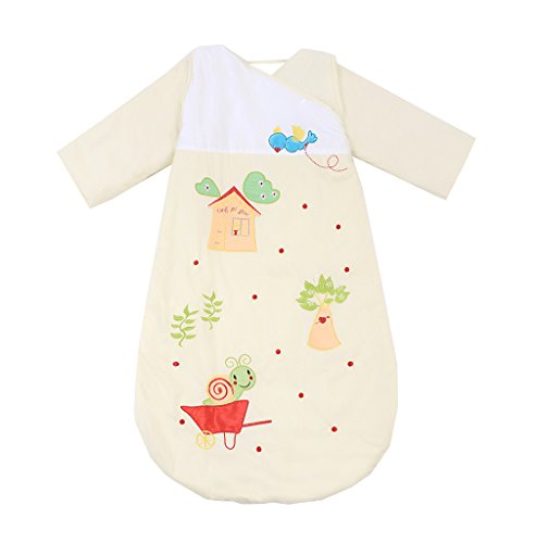 Missfly Unisex Baby Schlafsack Kinderschlafsack mit abnehmbaren Ärmeln Winter Cartoo Tier Design, Gelb, XL(Länge:120cm)