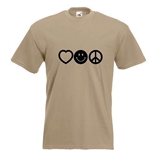 KIWISTAR - Love Happy Peace - Liebe Glück Frieden T-Shirt in 15 verschiedenen Farben - Herren Funshirt bedruckt Design Sprüche Spruch Motive Oberteil Baumwolle Print Größe S M L XL XXL Khaki
