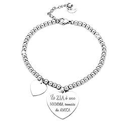 Idea Regalo - Beloved ❤️ Bracciale da donna, braccialetto in acciaio emozionale - frasi, pensieri, parole con charms - ciondolo pendente - misura regolabile - incisione - argento - tema famiglia (MF12)
