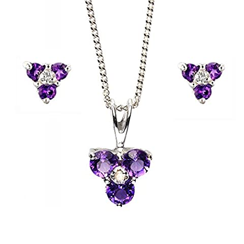 Ivy Gems 9ct White Gold Triple Amethyst and Diamond Cluster Set With 46cm Curb Chain