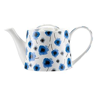 """Théière Modern Jameson & Tailor/Théière de""""Coquelicot bleu"""" / Cafetière en porcelaine brillante de 1100 ml/Convient aux lave-vaisselle et micro-ondes"""