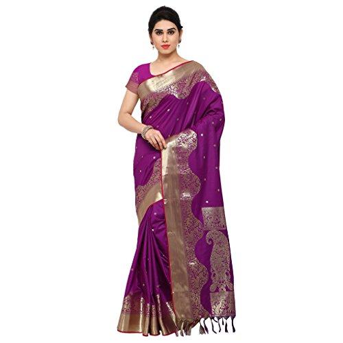 Varkala Silk Sarees Women's Art Silk Paithani Saree With Blouse Piece(JB1001PV_Purple_Free Size)