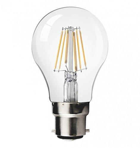 JSG Accessories Ampoule LED à filament Style Rétro Classique Non dimmable, en verre, Blanc chaud, B22, 6 W, 105 x 55 mm