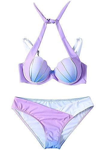 Sexy 2PCS Meerjungfrau/ Mermaid Sea Shell Schwanz Damen Badeanzüge Bademode Bikini Anzüge Set (M, (Mermaid Anzüge)