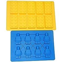 kelaina 2pcs ladrillo patrón robot con forma de bandeja de silicona Ice Cube Jelly Chocolate Freeze Mold (color al azar)