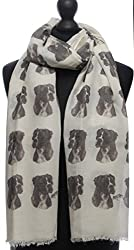 Boxer Fashion Design Limited Edition Ladies Scarf - Exclusive Mike Sibley Fashion Scarf Signature Collection - Perfect Gift for Any Dog Lover - Hand Printed in the UK