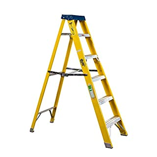 DJM Direct Electricians Heavy Duty Tread EN131 Fibreglass Step Ladder 30000v - 6 Tread