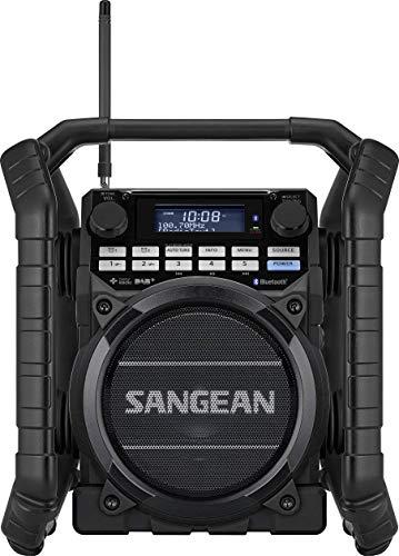 Sangean U4 DBT+ tragbares DAB+ Baustellenradio (UKW-Tuner, Bluetooth, NFC, AUX-In, Strahlwasser und staubgeschütztes Gehäuse, Timer) schwarz