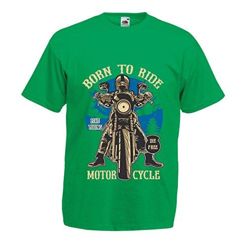 Maglietta da Uomo Live Young - Die Free - Nato per Guidare la Moto, Idee Regalo per Motociclisti, Slogan ispiratori (Large Verde Multicolore)