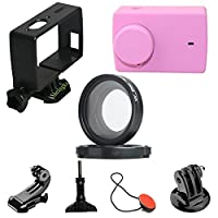Livecity Protective Cover UV Lens Frame for Xiaomi Xiaoyi 4K YI Lite Sports Camera Kit (Rose Red)