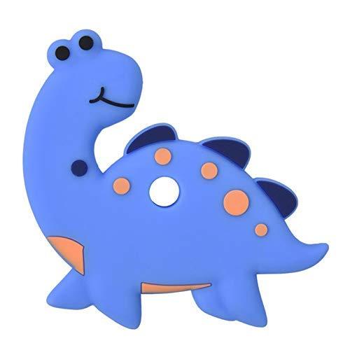 g Spielzeug Silikon Karton Dinosaurier Kaubar Beißring Beruhigend Spielsachen für Kleinkind - Blau ()