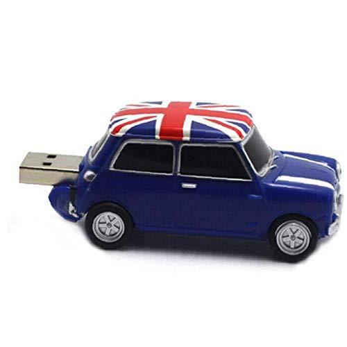 OMMO LEBEINDR Speicher USB-2-Auto-Träger PVC-Plastik mit dem britischen Pendrive Original-High-Speed-8G blauen USB-Flash-Disk Auto UK Flagge blau