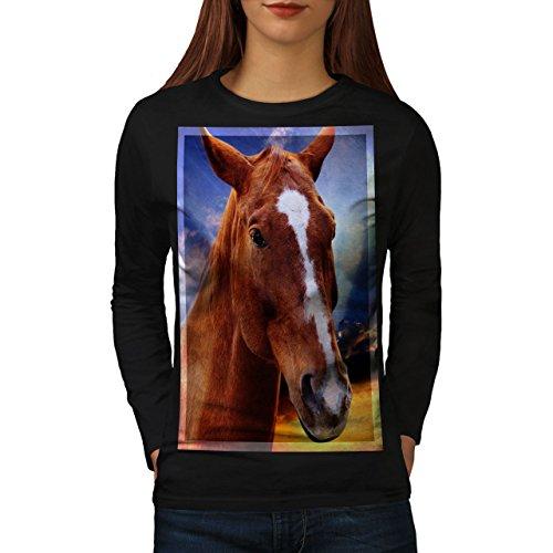 wellcoda Gesicht Wild Tier Pferd Frau Langarm T-Shirt Blau Lässiges Design