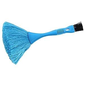 Fackelmann Staubpinsel TECNO, Staubwedel aus Kunststoff, Staubfeger mit Reinigungspinsel (Farbe: Blau), Menge: 1 Stück