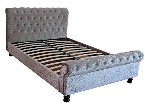 5ft King Size Kingston gecrushter Samt Silber Schlitten Bett mit zugeknöpft Design FTA