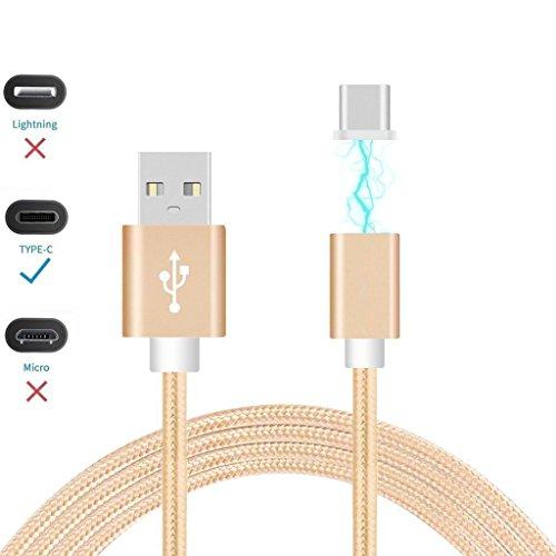 ONX3® (Gold) Magnetische USB-Typ-C Nylon geflochtene schnelle Schnellladung & Daten Sync Transferkabel mit LED-Licht Anzeige für Samsung Galaxy Note 6 SM-N930