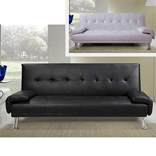 Divano letto ecopelle bianco o nero da cm 194 sofa per soggiorno moderno per 3 persone