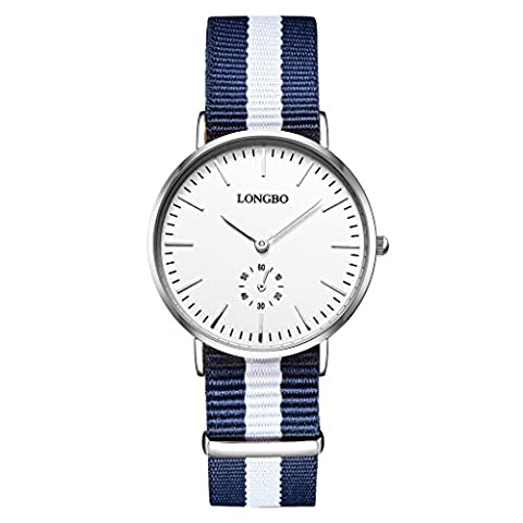 LONGBO Classic Women's Nylon Strap Watch Analog Quartz Ultra Thin Silver Case Multi-Color Band Business Watches Big Face Dress Wrist Watch with Blue White Blue Striped Canvas Band