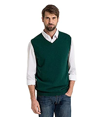 WoolOvers Pull sans manches - Homme - Cachemire & Mérinos Bottle Green, XXL