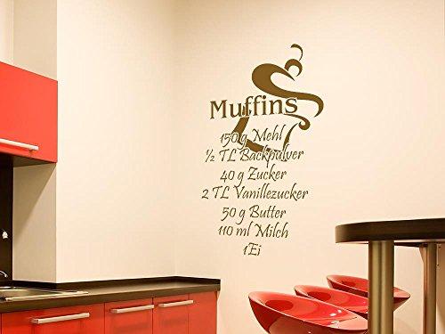 GRAZDesign Küchendeko Dekorfolie Sprüche, Wandgestaltung Küche Muffins, Wandtattoo Küche Rezept / 79x50cm / 071 grau